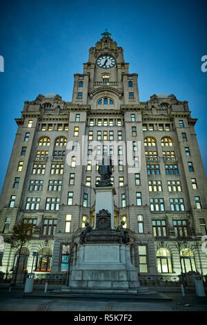 Liverpool Waterfront Pier Head Liver Building at night - Stock Photo