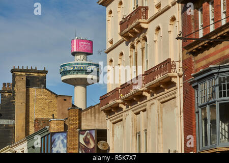 Liverpool city centre  Bold Street and Radio City Tower - Stock Photo