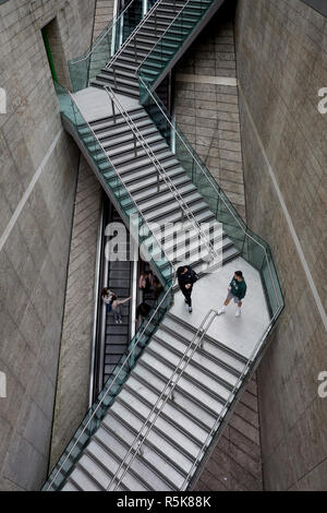 Liverpool city centre Liverpool One steps over the escalators - Stock Photo