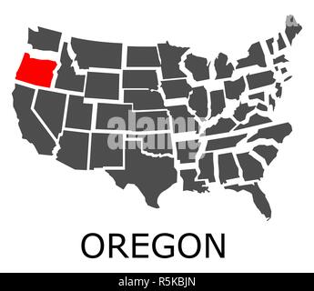 oregon on isolated map of united states of america with state ...