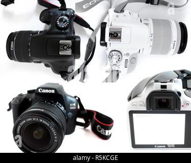 Camera Canon 1300d, Canon 100d eos, lens efs 18-55mm, black, white, editorial, illustrative - Stock Photo