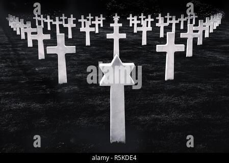 White stone graves disposed symmetrically - Stock Photo