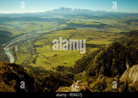 Amazing view on Tatra mountains from Pieniny, Poland - Stock Photo