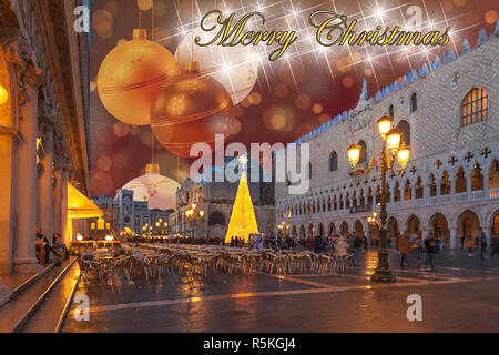 Christmas greetings card with Venice San Marco Square abstract background and fantasy sky - Stock Photo