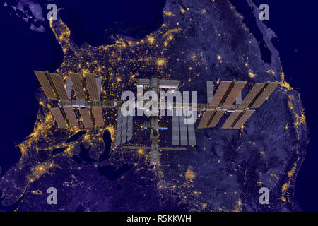 International Space Station over USA. - Stock Photo