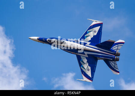 Canadian Air Force McDonnell Douglas CF-18 F-18 Hornet fighter jet in special colour at the Royal International Air Tattoo RIAT 2018 RAF Fairford, UK. - Stock Photo