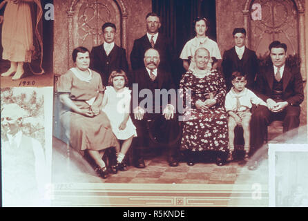 Three Generations of Family in a Portrait , USA , 1930's - Stock Photo