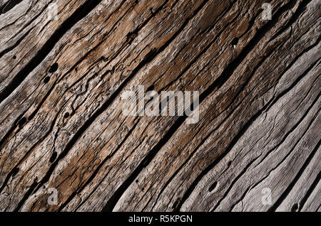 old gray rotten wooden board with deep cracks and wavy grooves - Stock Photo