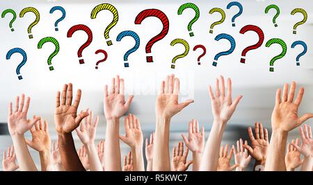 Close-up Of Raised Hands - Stock Photo