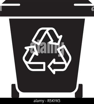 Rubbish black icon, vector sign on isolated background. Rubbish concept symbol, illustration  - Stock Photo