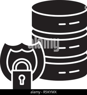 Data security black icon, vector sign on isolated background. Data security concept symbol, illustration  - Stock Photo