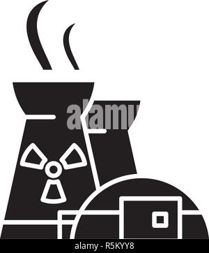 Nuclear power plant black icon, vector sign on isolated background. Nuclear power plant concept symbol, illustration  - Stock Photo