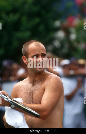 Andre Agassi during practice workout at tournament in Washington, D.C. in 1995 - Stock Photo
