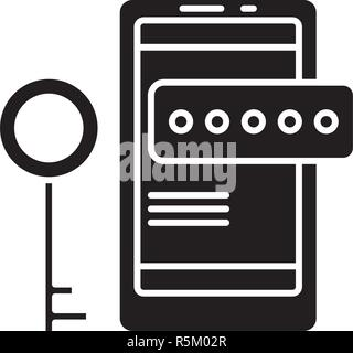 Smartphone security black icon, vector sign on isolated background. Smartphone security concept symbol, illustration  - Stock Photo