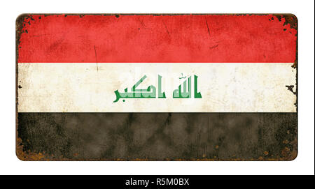 old rusted sheet metal shield - iraq flag - Stock Photo