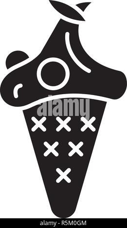 Cherry ice cream black icon, vector sign on isolated background. Cherry ice cream concept symbol, illustration  - Stock Photo
