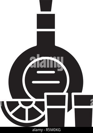 Cognac black icon, vector sign on isolated background. Cognac concept symbol, illustration  - Stock Photo