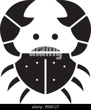 Crab black icon, vector sign on isolated background. Crab concept symbol, illustration  - Stock Photo