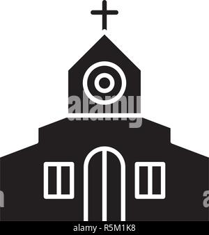 Church black icon, vector sign on isolated background. Church concept symbol, illustration  - Stock Photo