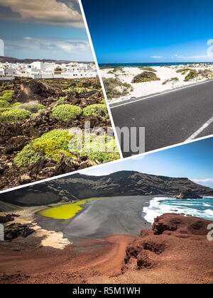 collage of lanzarote - Stock Photo