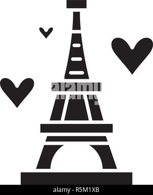Eiffel tower black icon, vector sign on isolated background. Eiffel tower concept symbol, illustration  - Stock Photo