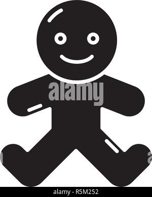 Gingerbread man black icon, vector sign on isolated background. Gingerbread man concept symbol, illustration  - Stock Photo
