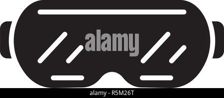 Ski goggles black icon, vector sign on isolated background. Ski goggles concept symbol, illustration  - Stock Photo