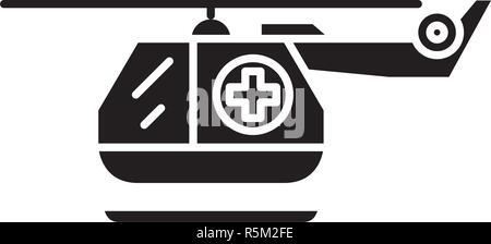Ambulance helicopter black icon, vector sign on isolated background. Ambulance helicopter concept symbol, illustration  - Stock Photo