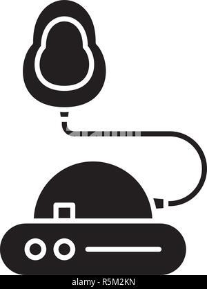 Inhalation black icon, vector sign on isolated background. Inhalation concept symbol, illustration  - Stock Photo