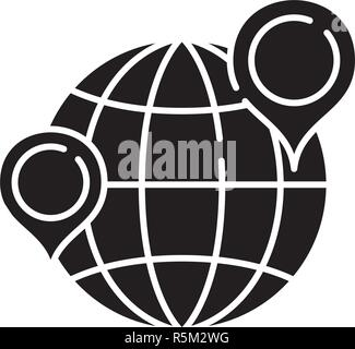 Globe with pointers black icon, vector sign on isolated background. Globe with pointers concept symbol, illustration  - Stock Photo