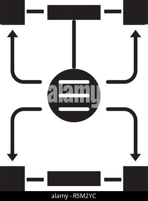 Algorithm of decisions black icon, vector sign on isolated background. Algorithm of decisions concept symbol, illustration  - Stock Photo