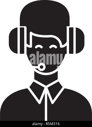 Customer support black icon, vector sign on isolated background. Customer support concept symbol, illustration  - Stock Photo