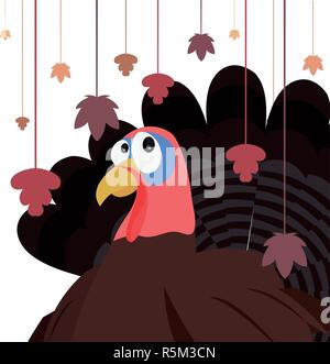 turkey and hanging leaves autumn thanksgiving vector illustration Stock Photo
