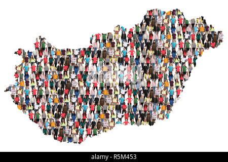 hungary map people people people group group of people multicultural - Stock Photo