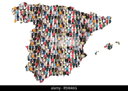 spain map people people group people group multicultural - Stock Photo
