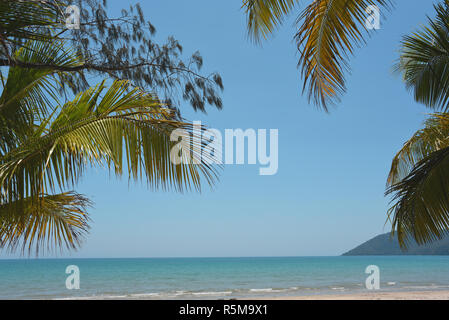 The beaches in Northern Queensland Australia have true Polynesian tropical beauty.  This one at Cape Tribulation is a perfect example. - Stock Photo