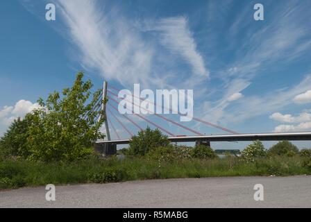 lower rhine bridge near wesel am rhein - Stock Photo