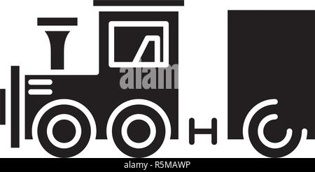Children's locomotive black icon, vector sign on isolated background. Children's locomotive concept symbol, illustration  - Stock Photo