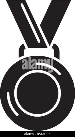 Medal winner black icon, vector sign on isolated background. Medal winner concept symbol, illustration  - Stock Photo