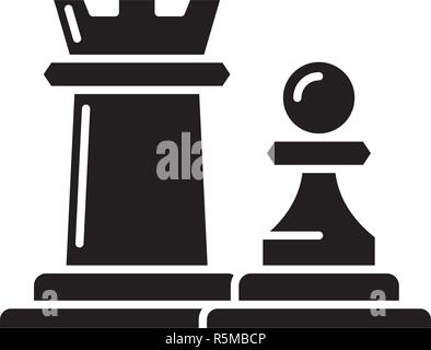 Chess pieces rook and pawn black icon, vector sign on isolated background. Chess pieces rook and pawn concept symbol, illustration  - Stock Photo