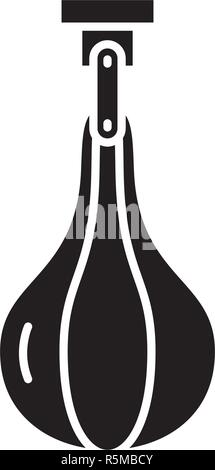Punching bag black icon, vector sign on isolated background. Punching bag concept symbol, illustration  - Stock Photo