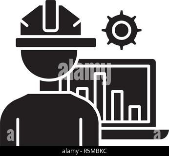 Production automation black icon, vector sign on isolated background. Production automation concept symbol, illustration  - Stock Photo