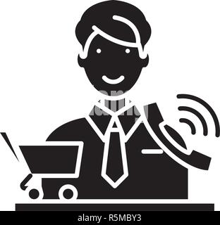 Telemarketing black icon, vector sign on isolated background. Telemarketing concept symbol, illustration  - Stock Photo