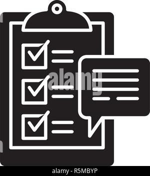 Customer surveys black icon, vector sign on isolated background. Customer surveys concept symbol, illustration  - Stock Photo