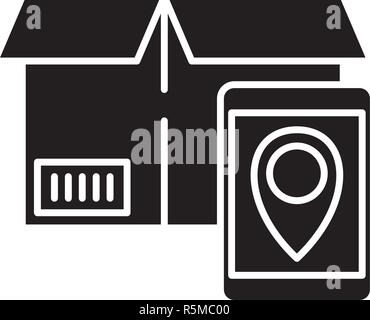 Tracking number black icon, vector sign on isolated background. Tracking number concept symbol, illustration  - Stock Photo