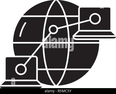 Global network black icon, vector sign on isolated background. Global network concept symbol, illustration  - Stock Photo