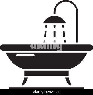 Bathroom black icon, vector sign on isolated background. Bathroom concept symbol, illustration  - Stock Photo