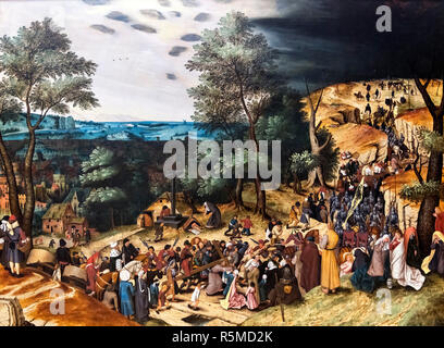 The Way to Calvary by Pieter Brueghel the Younger (1564-1638), oil on panel - Stock Photo