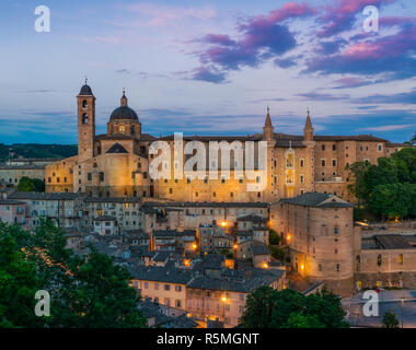 Panorama in Urbino at sunset, city and World Heritage Site in the Marche region of Italy. - Stock Photo