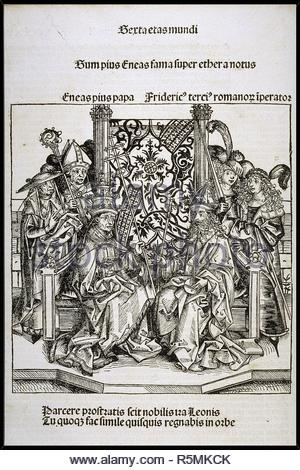 Meeting between Pope Pius II and Frederick III, Emperor of Germany (from the Schedel's Chronicle of the World). Museum: PRIVATE COLLECTION. Author: WOLGEMUT, MICHAEL. - Stock Photo
